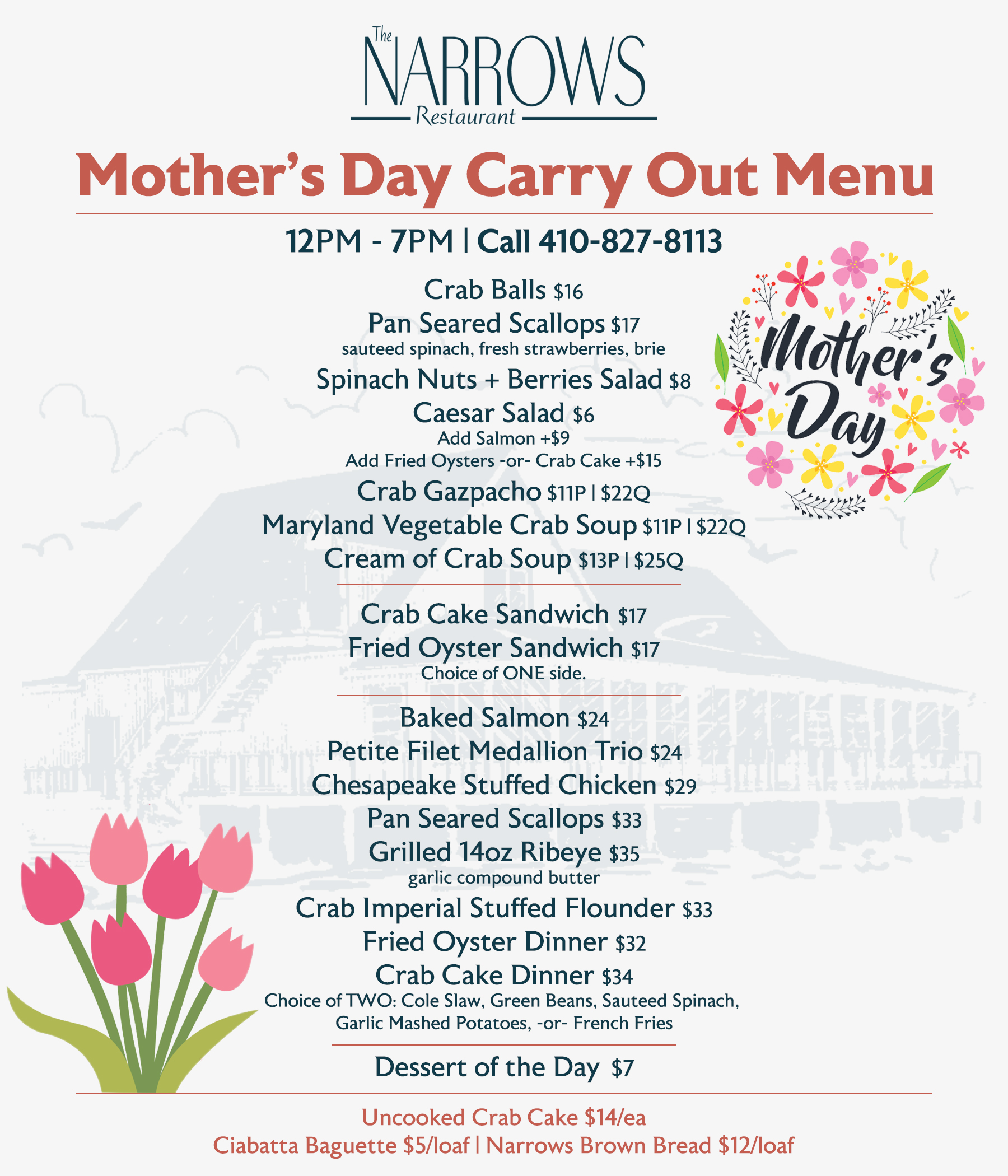 Mother's Day Carry-Out Menu